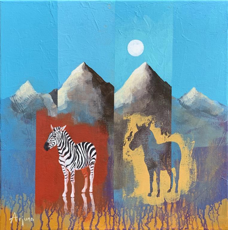 Twin top Akrylmaleri (40x40 cm) kr 5500 ur