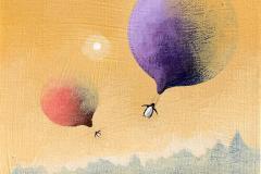 Flying penguins Akrylmaleri (20x20 cm) kr 3000 ur