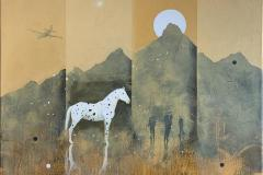 Hiding horse Akrylmaleri (80x80 cm) kr 13000 ur