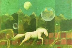 Night runner Akrylmaleri (40x40 cm) kr 5500 ur
