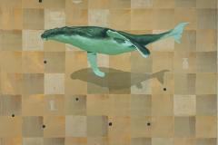 Whale and wall Akrylmaleri (100x100 cm) kr 19000 ur