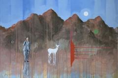 White deer Akrylmaleri (70x100 cm) kr 15000 ur