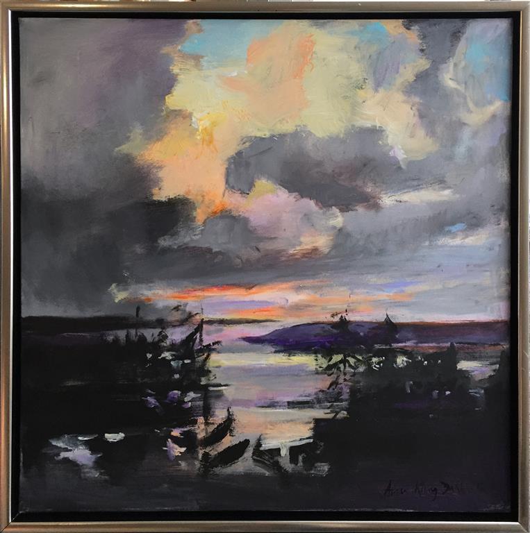 Arne Kleng Dahle: Det letner Akrylmaleri (80x80 cm) kr 12000 mr
