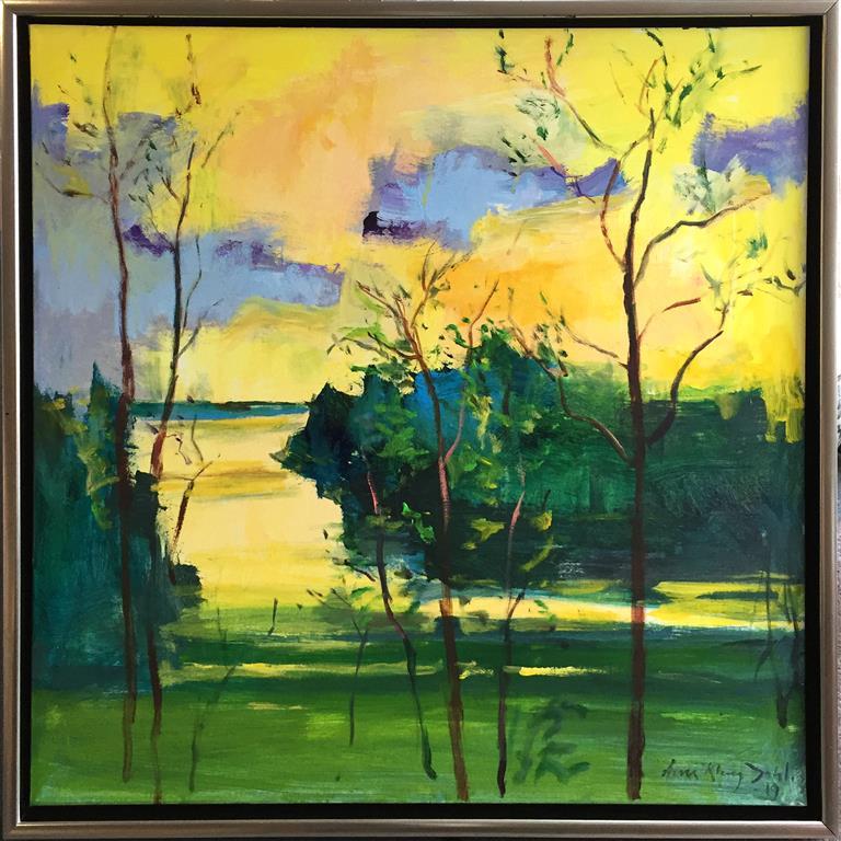 Arne Kleng Dahle: Forsommer Akrylmaleri (80x80 cm) kr 12000 mr