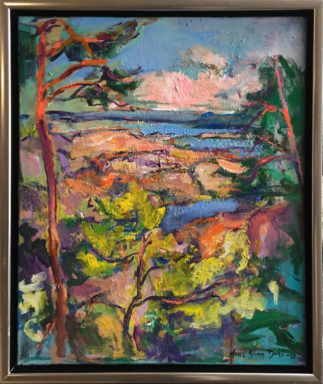 Arne Kleng Dahle: Sommer ved fjorden Akrylmaleri (60x50 cm) kr 5000 mr