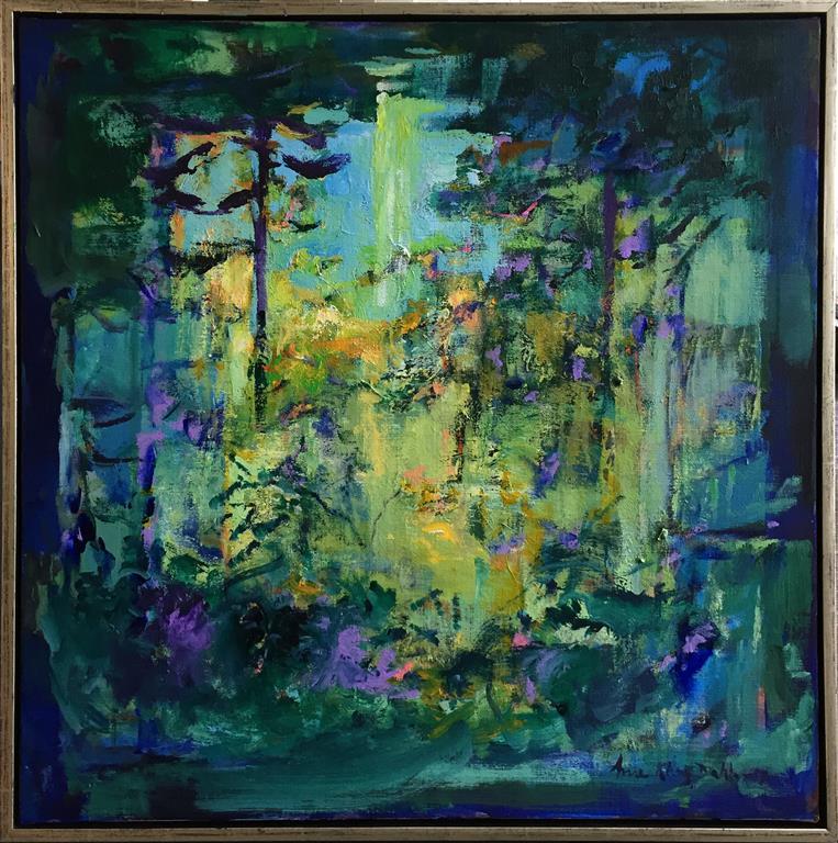 Arne Kleng Dahle: Sommer ved innsjøen Akrylmaleri (80x80 cm) kr 12000 mr