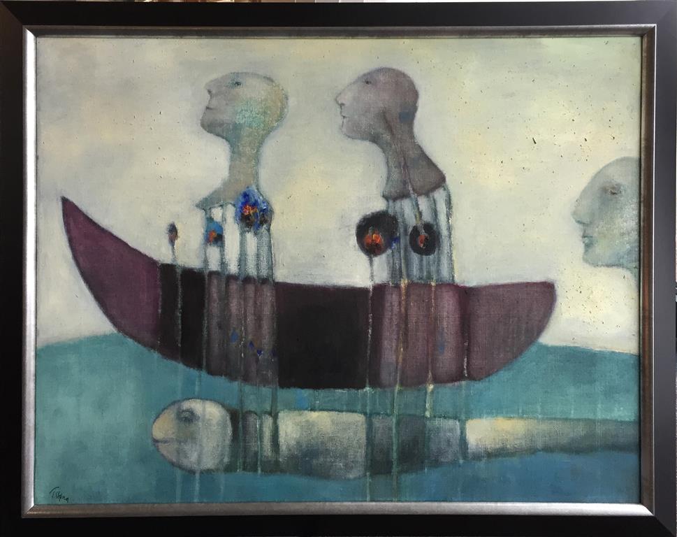 Trine Støren: En slags fisketur Akrylmaleri (73x92 cm) kr 15000 mr