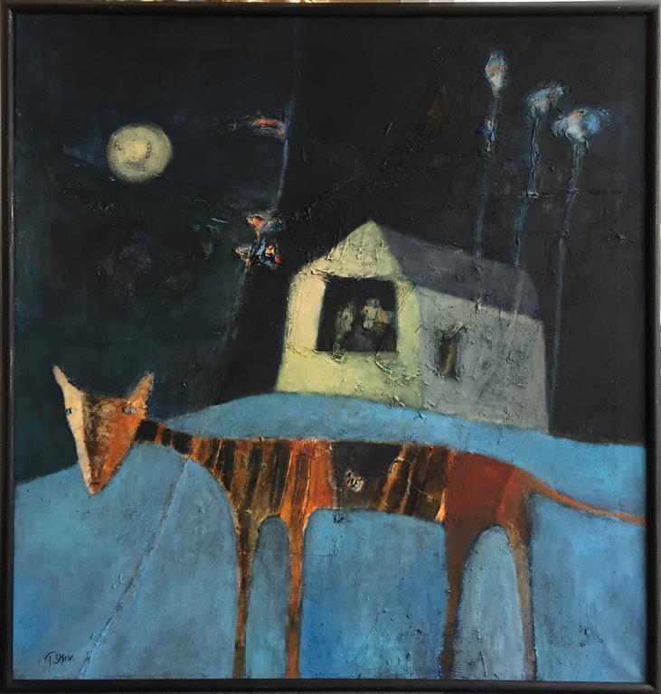 Trine Støren: Natten er ennå ung Akrylmaleri (95x90 cm) kr 15000 mr