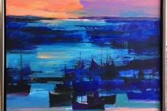 Arne Kleng Dahle: Natthavn Akrylmaleri (80x80 cm) kr 12000 mr
