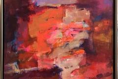 Arne Kleng Dahle: Rødt landskap Akrylmaleri (80x80 cm) kr 12000 mr