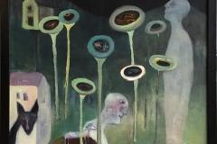 Trine Støren: Sommernatt Akrylmaleri (92x92 cm) kr 15000 mr