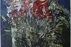 Med blomstrekrans i haaret Etsning 59x49 cm 5000 mr