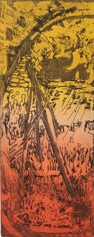 Landskap Etsning (50x20 cm) kr 1700 ur