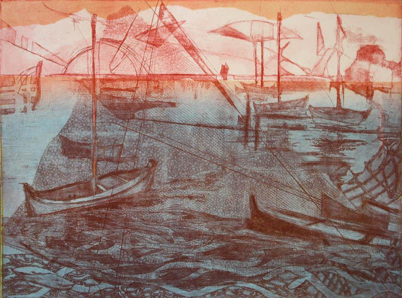 Pink sky Litografi 29,5x39cm 1700,-kr u.r.