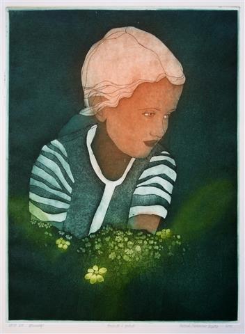 Portrett i groent Litografi 49,5x37,5 cm 1950 ur