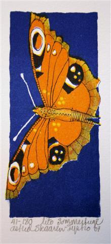 Sommerfugl Litografi 12x5,5 cm 350 ur