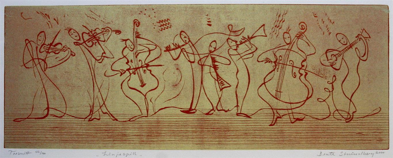 Linjespill, gul Tresnitt 24x64 cm 2000 ur