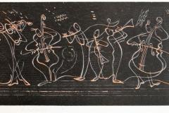 Linjespill, sort Tresnitt 24x64 cm 2000 ur