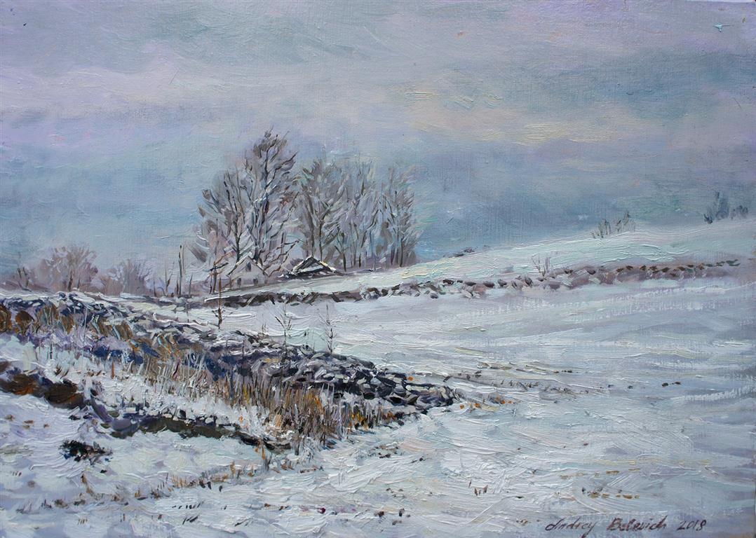 A Field Scenery At Kjosavik Oljemaleri (25x34 cm) kr 3500 ur