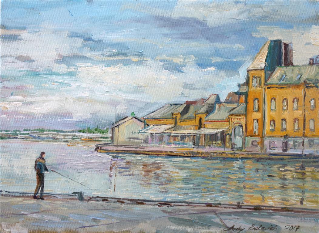A Fisherman In Stavanger Oljemaleri (30x40 cm) kr 3000 ur