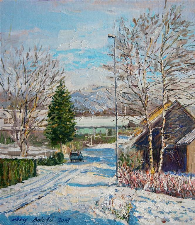 Bright Winter Day In Sandnes Oljemaleri (36x26 cm) kr 3500 ur