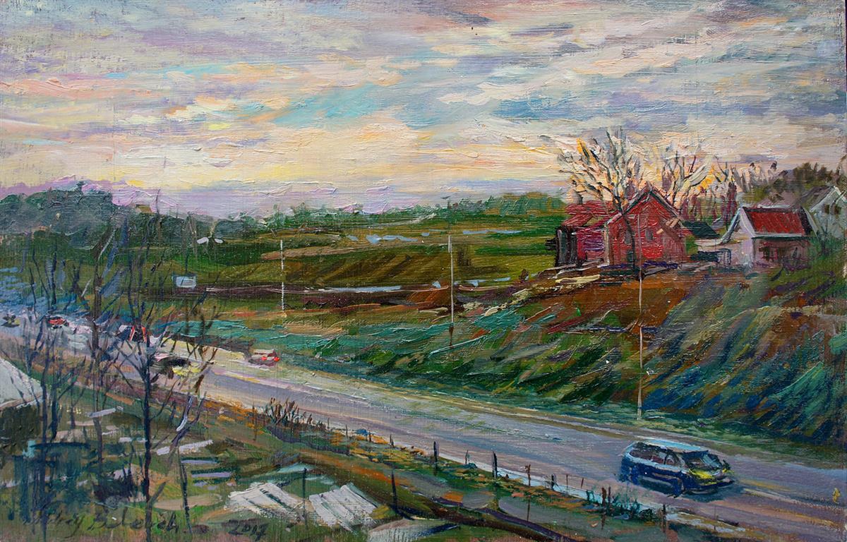December Evening At Austrått Oljemaleri (24x38 cm) kr 3000 ur