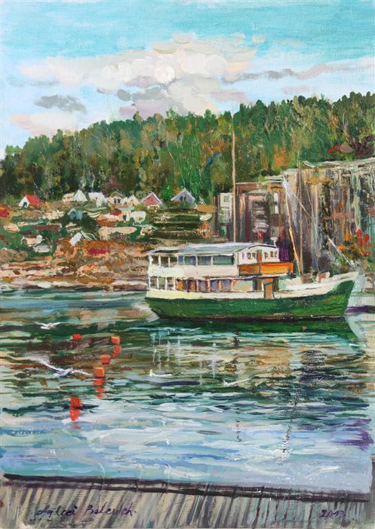 Green Ship, Sandnes Oljemaleri  (40x30 cm) kr 3000 ur