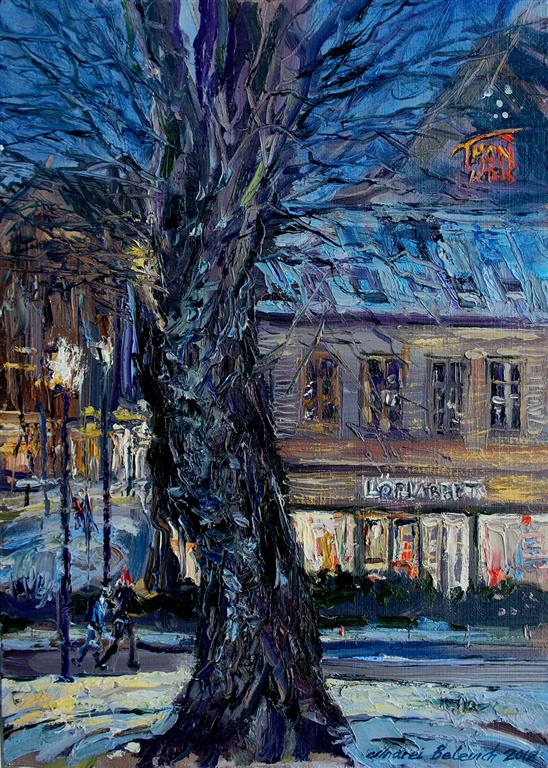 January Night At Kongsgata In Stavanger Oljemaleri (35x26 cm) kr 3500 ur