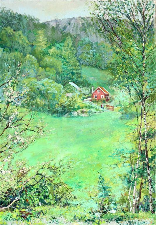 Myrland Gård, summer Oljemaleri (40x30 cm) kr 4000 ur