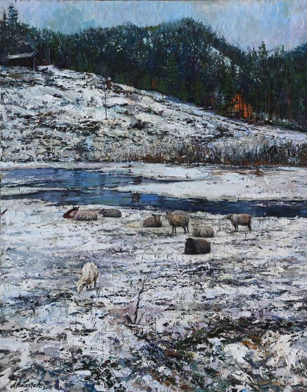 Sheep. On The Way To Hommersåk Oljemaleri (70x60 cm) kr 12000 ur