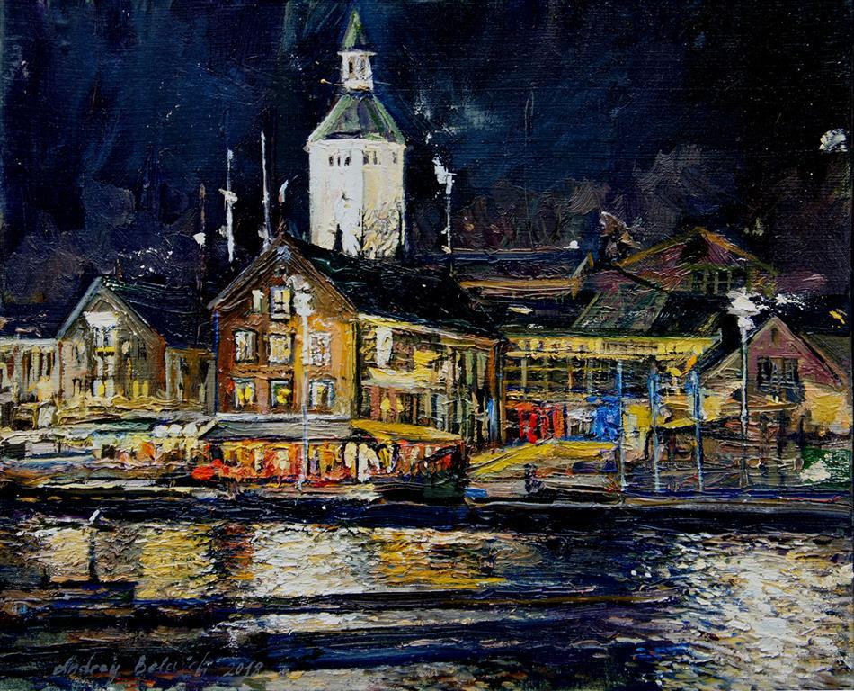 Stavanger Brygge At Night Oljemaleri (27x30 cm) kr 4000  ur