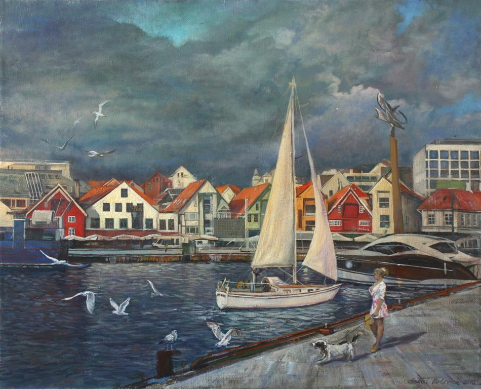 Watching The Sky In Stavanger Oljemaleri (60x70 cm) kr 12000 ur