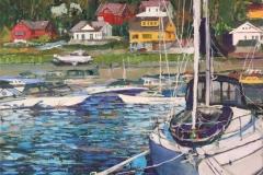 Boats At Sandvika, Sandnes Oljemaleri (40x40 cm) kr 5000 ur