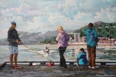 Fishermen At Sandnes Brygge Oljemaleri  (46x65 cm) kr 10000 ur