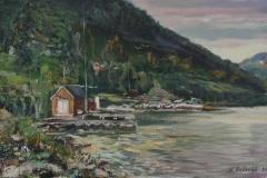 Fjord Scenery Near Ims Oljemaleri (35x60 cm) kr 5000 ur