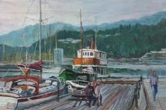Sandnes Bryggen in summer  Oljemaleri (30x40 cm) kr 3500 ur