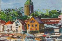 Stavanger Bryggen Oljemaleri (35x25 cm) kr 2500 ur
