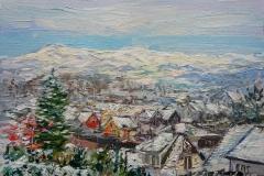 Winter Scenery At Hana, Sandnes Oljemaleri (24x35 cm) kr 3000 ur