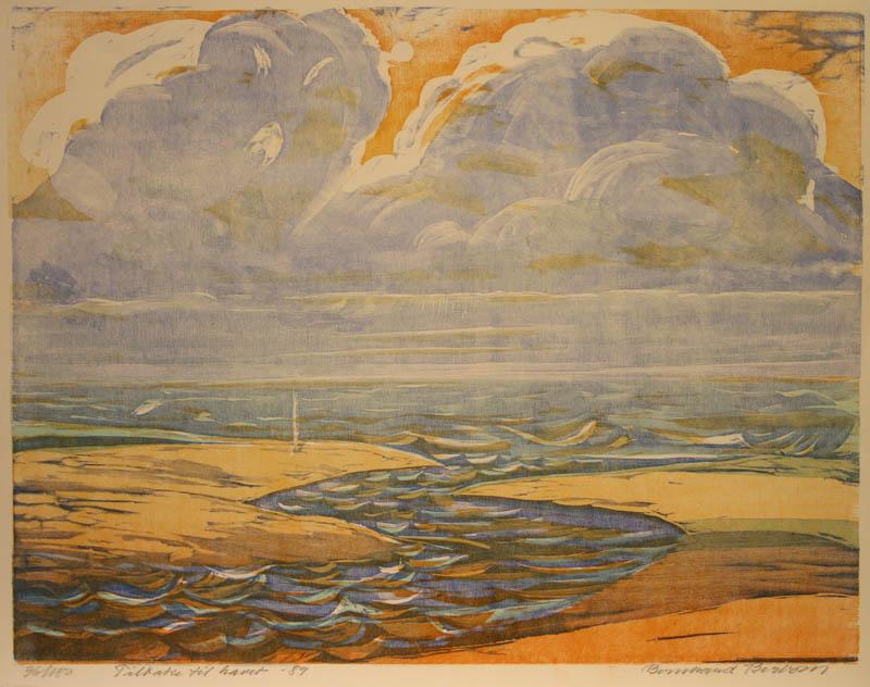 Tilbake til havet Tresnitt 46x60cm 1800,-kr u.r.