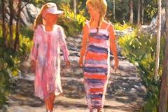Jentene-paa-tur-Akrylmaleri-60x60cm-12000-kr-m.r.