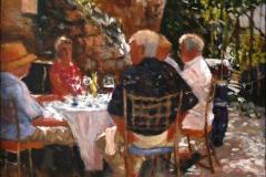 Lunsj i Biot Akrylmaleri 50x50cm 8000,-kr m.r.