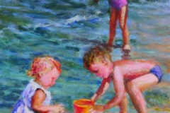 Tre paa strand to med spann Akrylmaleri 40x30cm 4500,-kr m.r.
