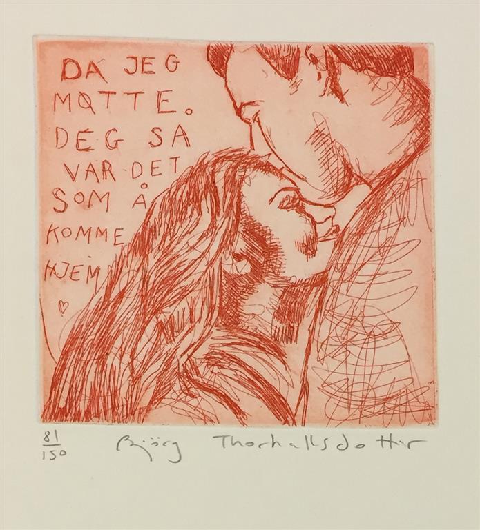 Da jeg møtte deg  så var det som å komme hjem (rød) Etsning (12x12 cm) kr 900 ur
