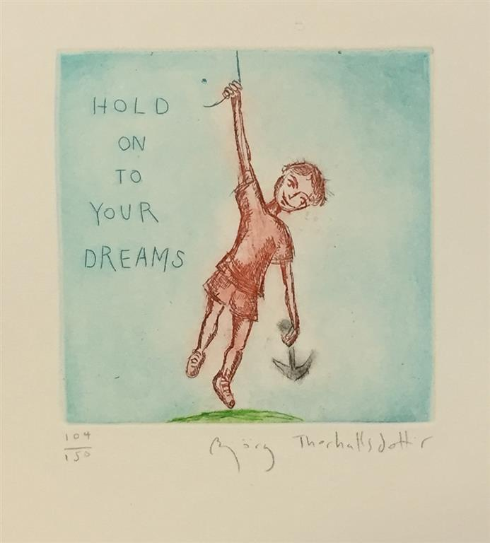 Hold on to your dreams Etsning (12x12x cm) kr 900 ur