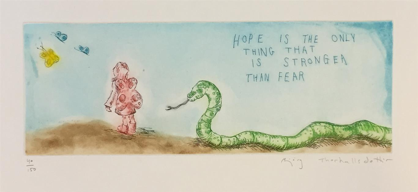 Hope is the only thing that is stronger than fear Etsning (10x30 cm) kr 1200 ur