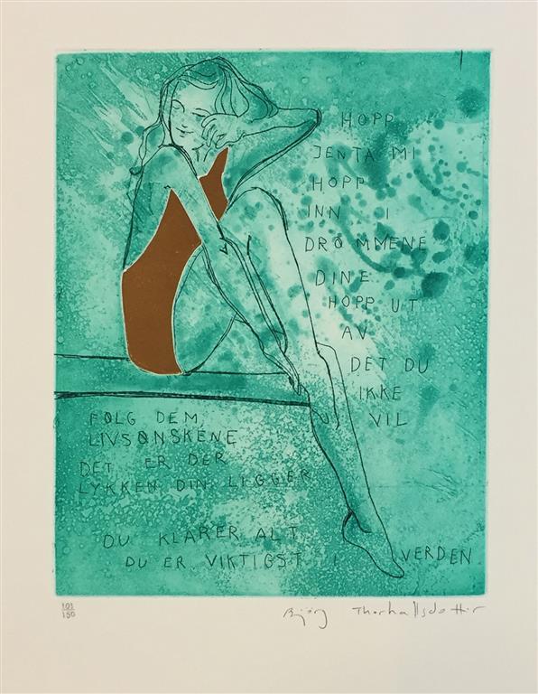 Hopp jenta mi (grønn) Etsning (27x21 cm) kr 2400 ur