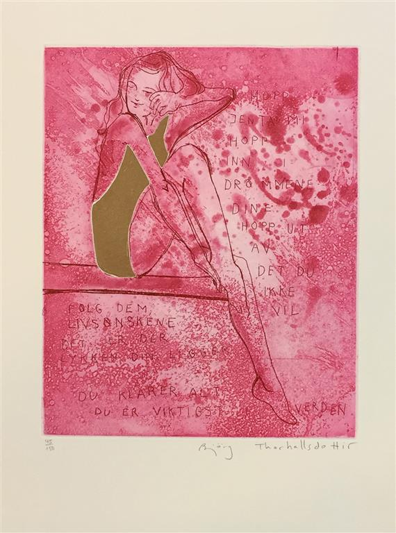 Hopp jenta mi (rosa) Etsning (27x21 cm) kr 2400 ur