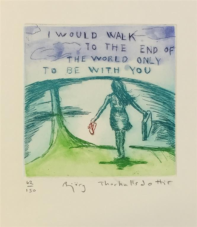 I would walk to the end of the world only to be with you Etsning (12x12 cm) kr 900 ur
