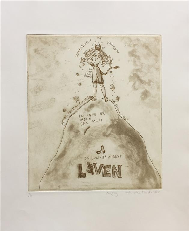 Løven Etsning (27x23 cm) kr 2500 ur