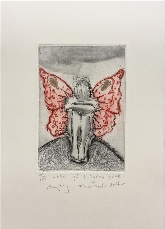 Stol på vingene dine Etsning (14x10 cm) kr 1200 ur